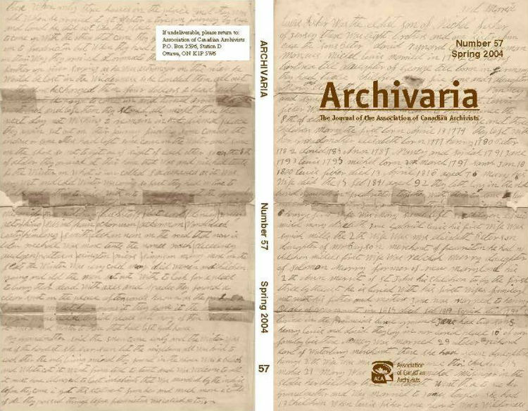 Archivaria 57 front cover