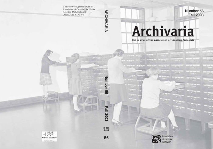 Archivaria 56 front cover