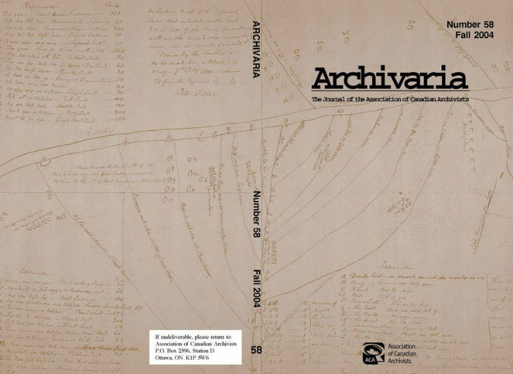 Archivaria 58 front cover