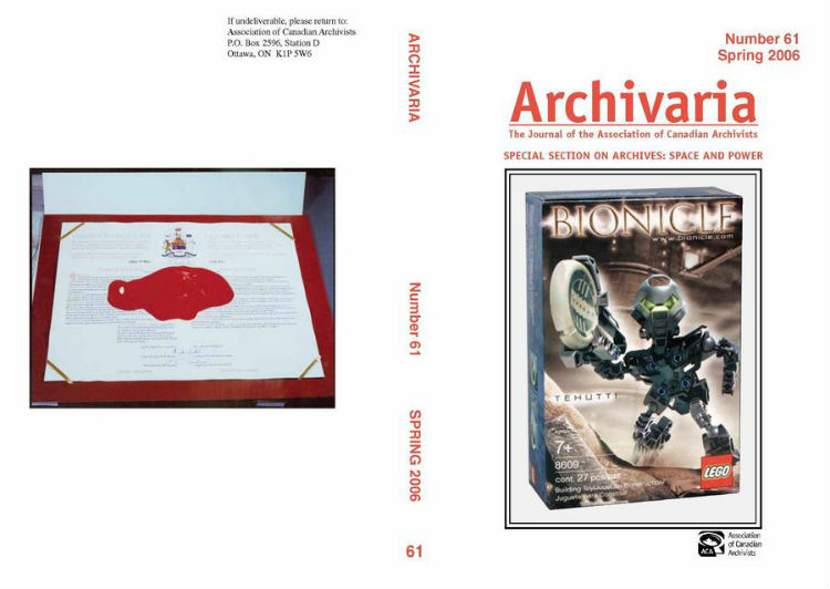 Archivaria 61 front cover