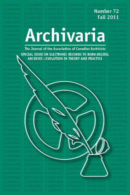 Archivaria 72 cover