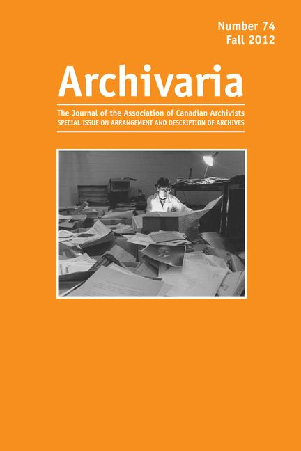 Archivaria 74 cover