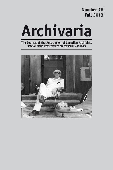 Archivaria 76 cover - Al Purdy at his A-frame cottage in Ameliasburgh, Ontario, 1996